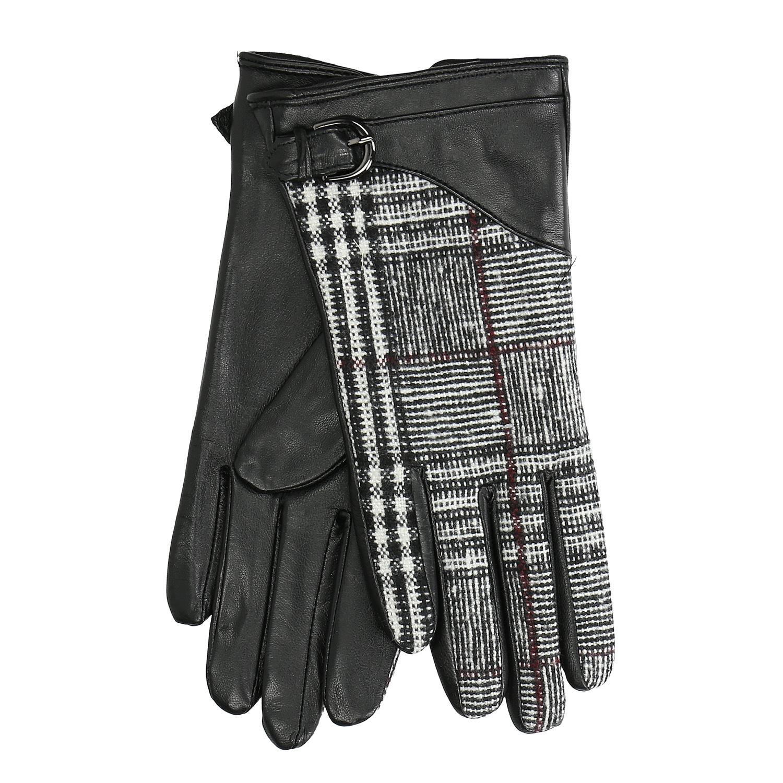 Dámské kožené rukavice kárované černé