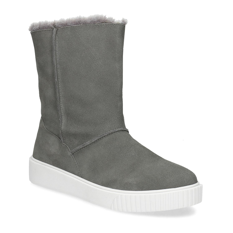 Dámská zimní kožená obuv šedá