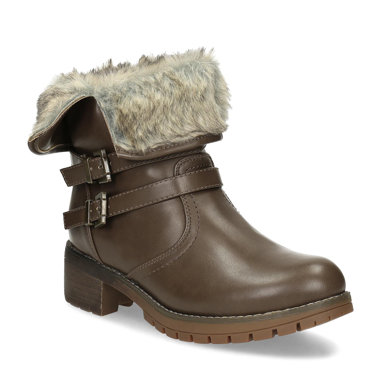 Hnědá dámská zimní obuv s kožíškem