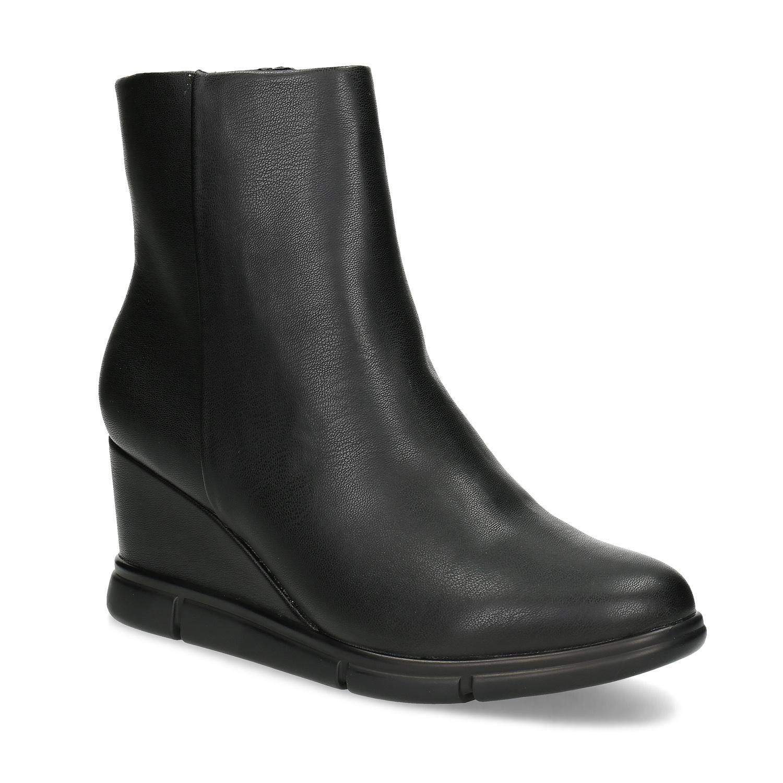 Dámská kotníčková obuv na klínku černá