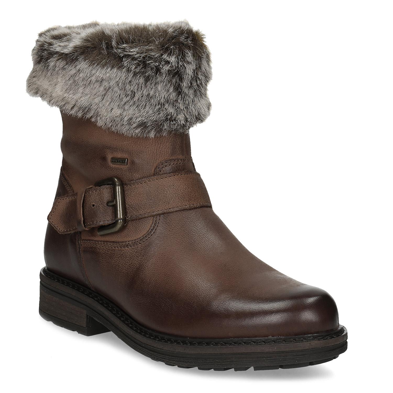 Dámská zimní kožená obuv s kožíškem