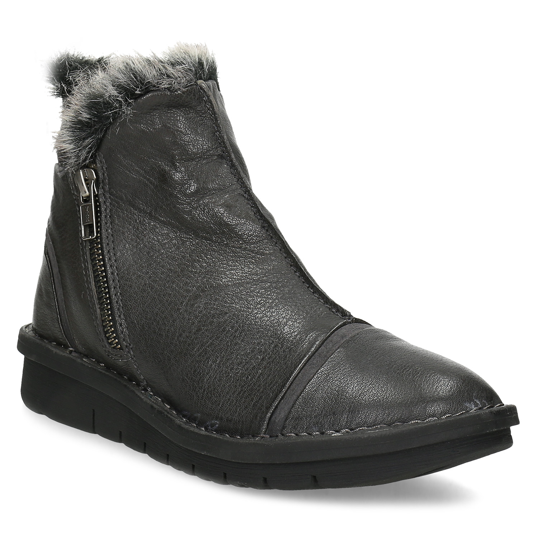 Dámská kotníčková kožená zimní obuv
