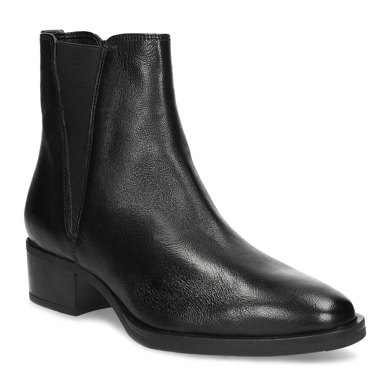 Kožená Chelsea obuv na nízkém podpatku černá