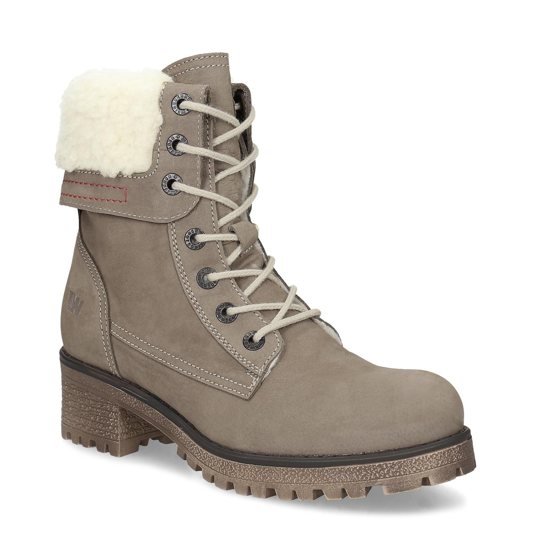10d1e888955 Hnědá kožená kotníčková obuv s kožíškem