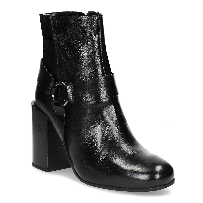 Kožená kotníčková obuv na vysokém podpatku