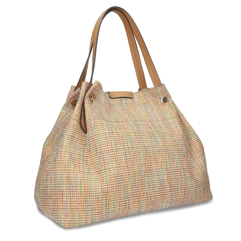 Béžová dámska kabelka s farebným pretkaním