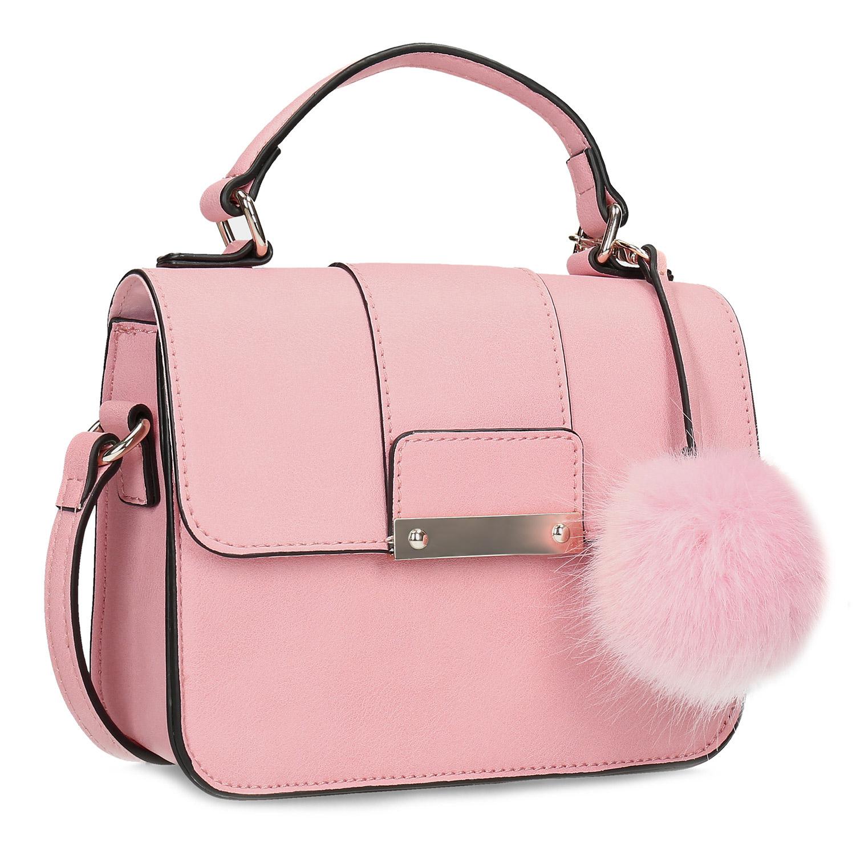 Růžová dámská kabelka s přívěskem