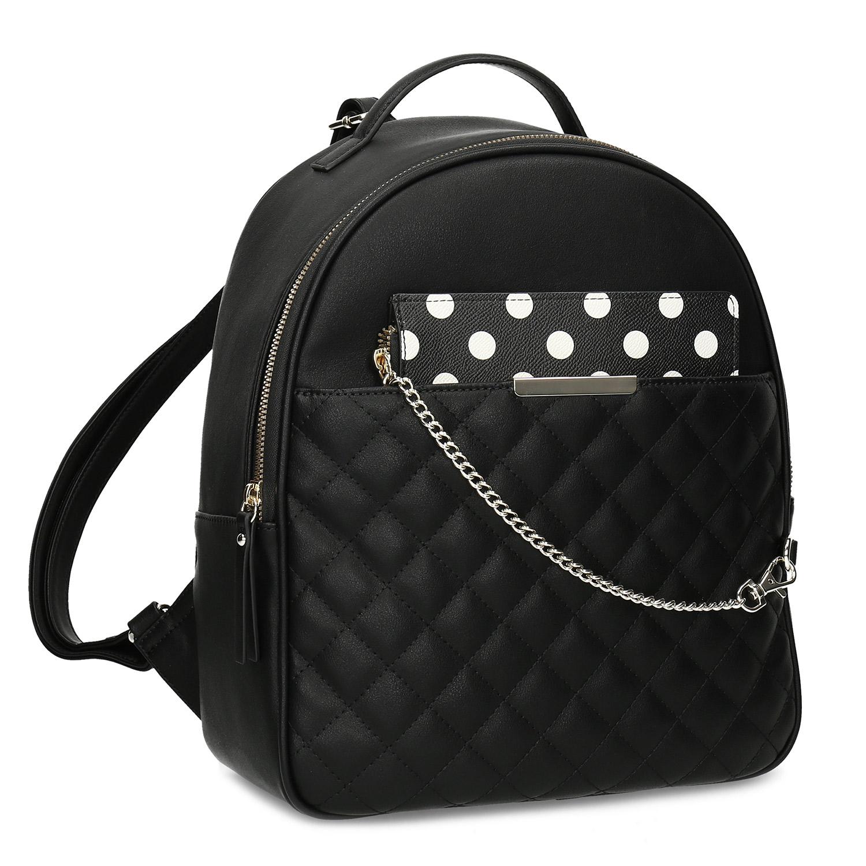Dámský batůžek s černý s odepínatelnou kapsou