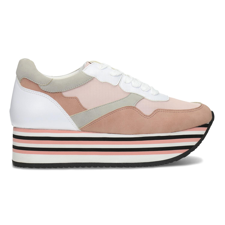 Dámské tenisky na flatformě růžové