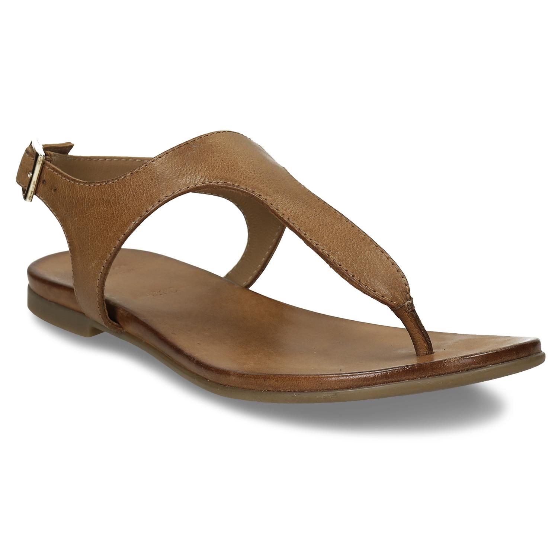 Hnedé kožené dámske sandále