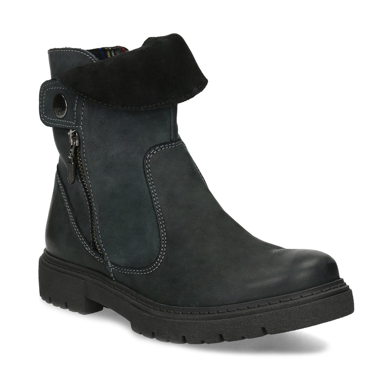 Dámská kožená zimní obuv s prošitím