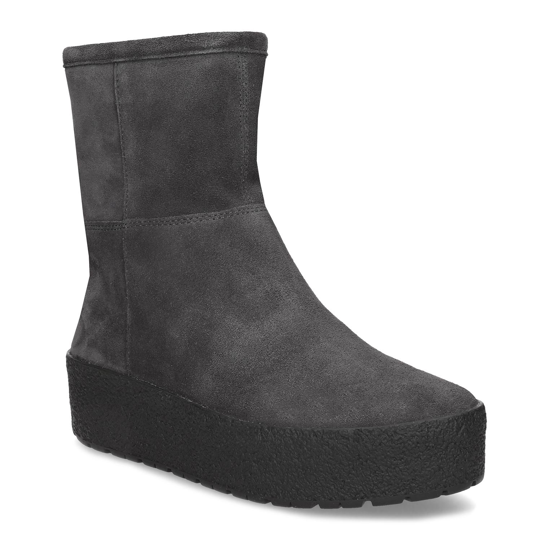 Dámská zimní obuv z broušené kůže šedá