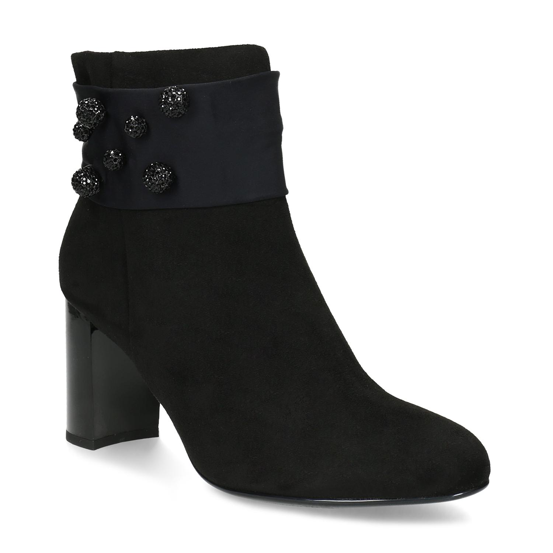 Černá kotníčková obuv na podpatku s kamínky