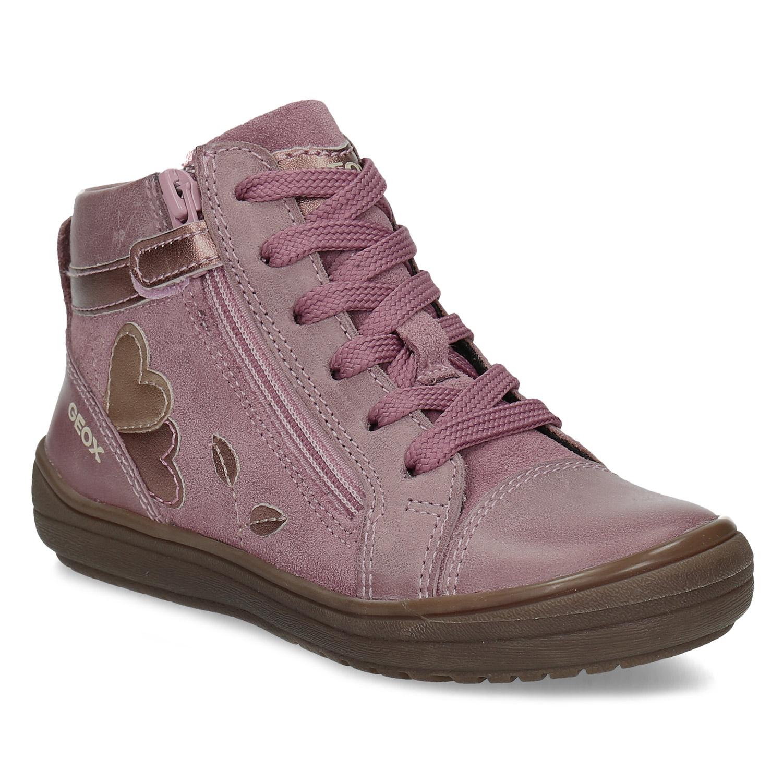 Růžová dětská kotníčková obuv s prošitím