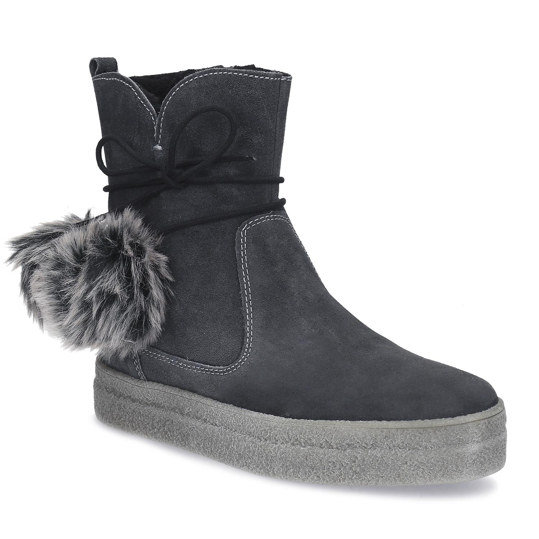 Šedá dámská kožená zimní obuv