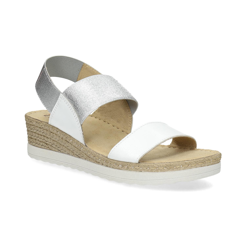 Kožené sandále na kline biele