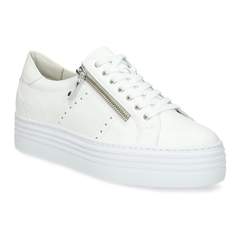 Bílé tenisky na flatformě se zipem