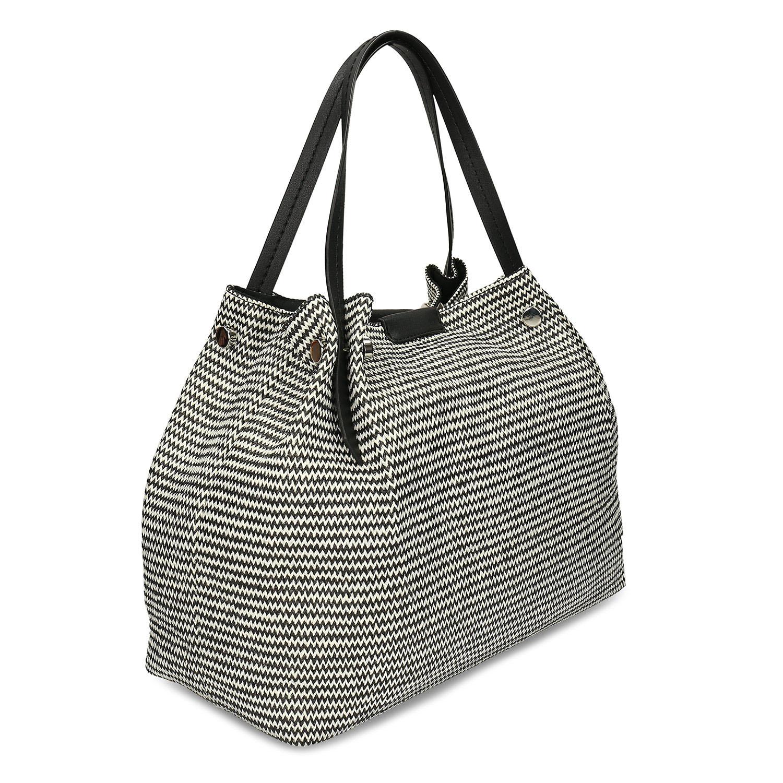 Čiernobiela dámska kabelka s kovovými cvočkami