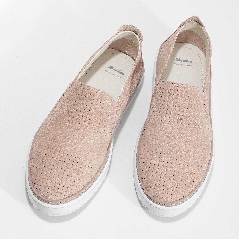 Růžové kožené slip-on tenisky