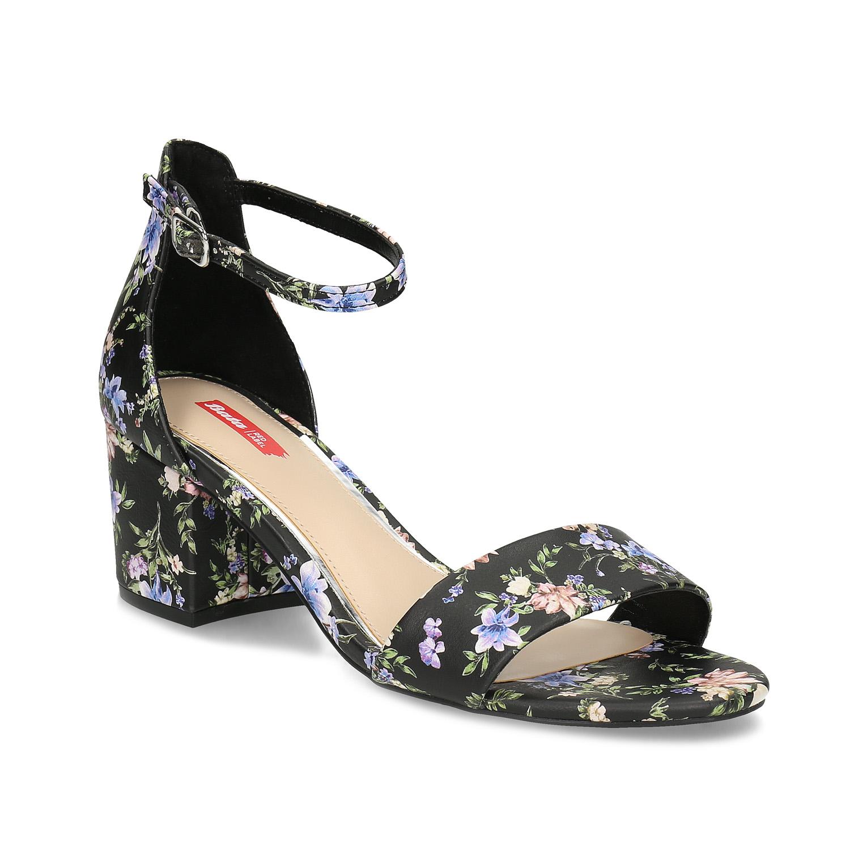 Černé sandály na podpatku s květinovým vzorem