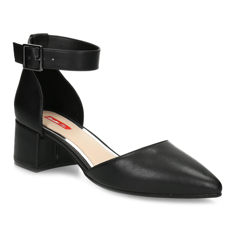 Černé dámské lodičky na nízkém podpatku