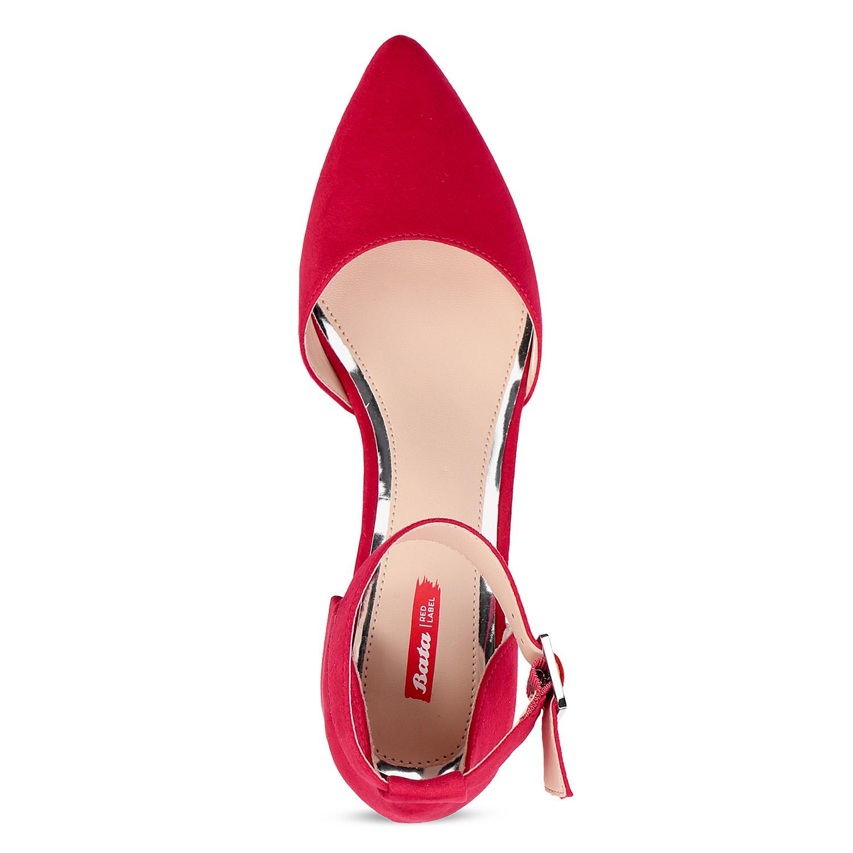 Červené dámské lodičky na nízkém podpatku