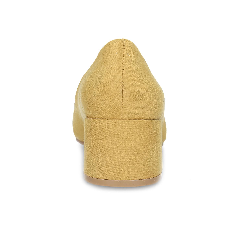 Žluté dámské lodičky na stabilním podpatku