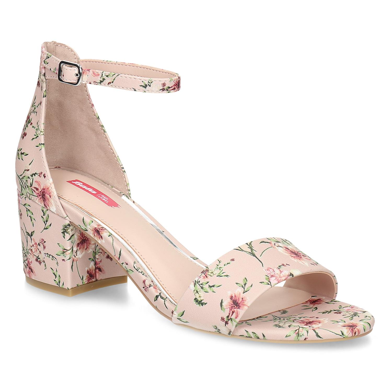 Růžové sandály na podpatku s květinovým vzorem