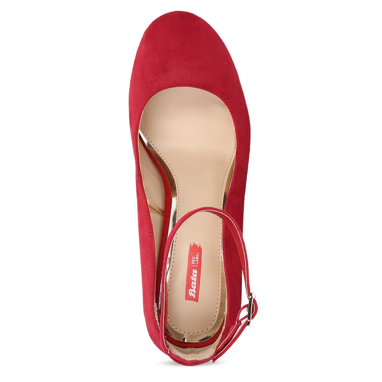 Červené dámské lodičky na stabilním podpatku