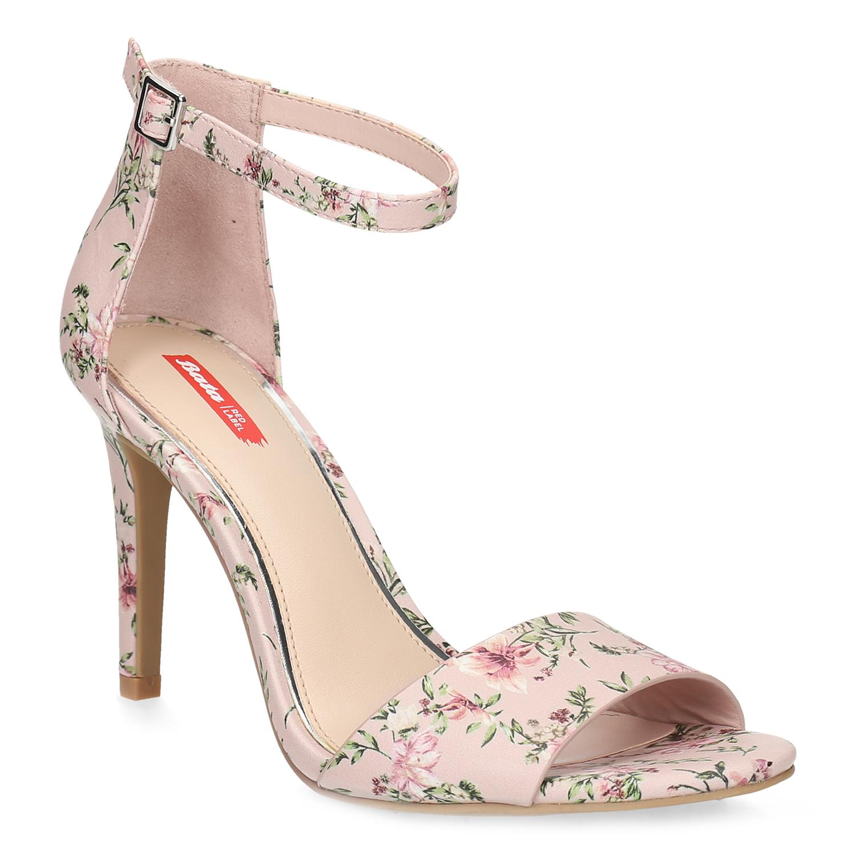 Růžové sandály na jehlovém podpatku se vzorem