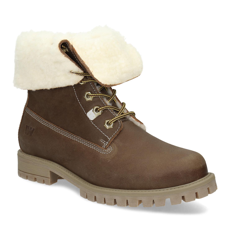 Dámska hnedá kožená zimná obuv