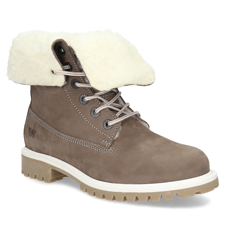 Hnědá dámská kožená zimní obuv