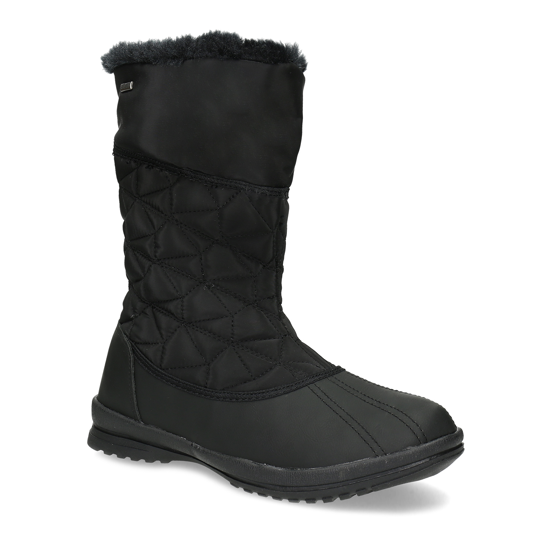 Dámska čierna zimná obuv s prešívaním