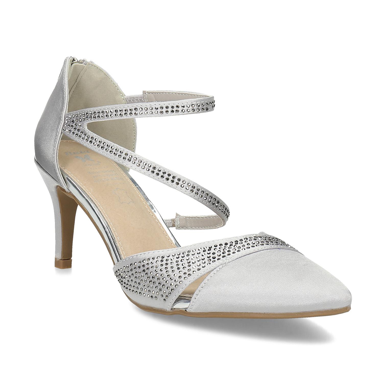Stříbrné dámské sandály na jehlovém podpatku