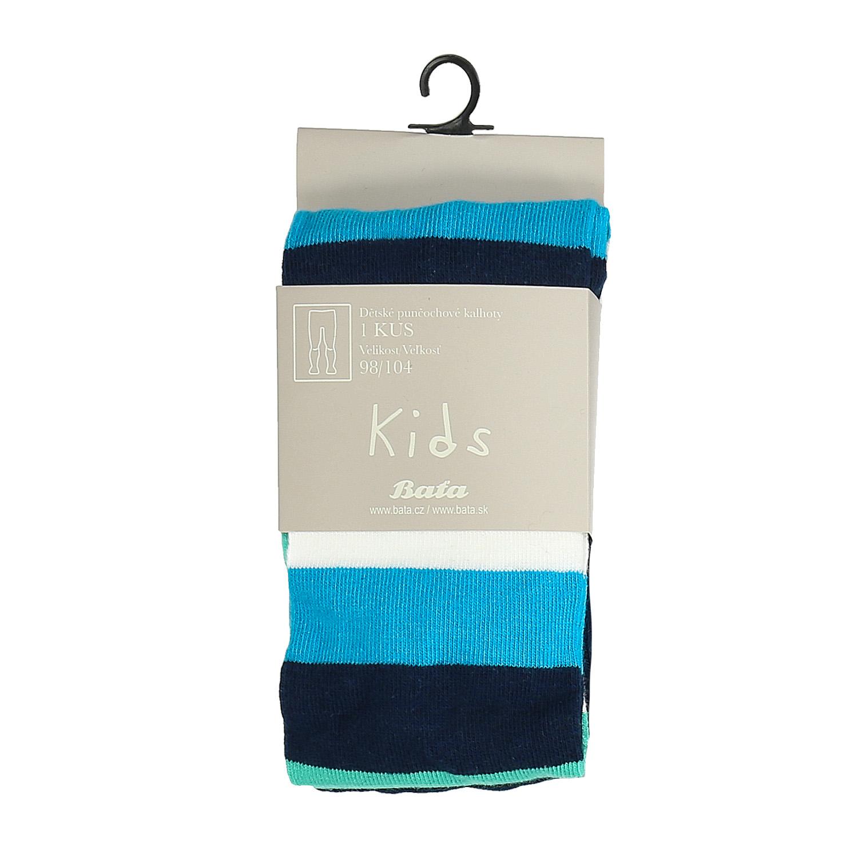 Modré dětské punčochové kalhoty s proužky