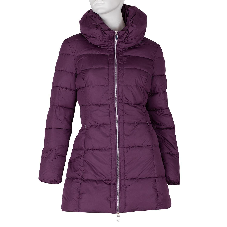 Dlouhá dámská fialová bunda s prošitím