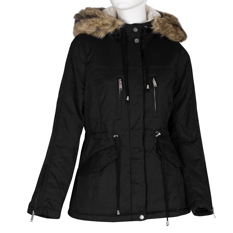 Černá dámská bunda s kapucí a kožíškem