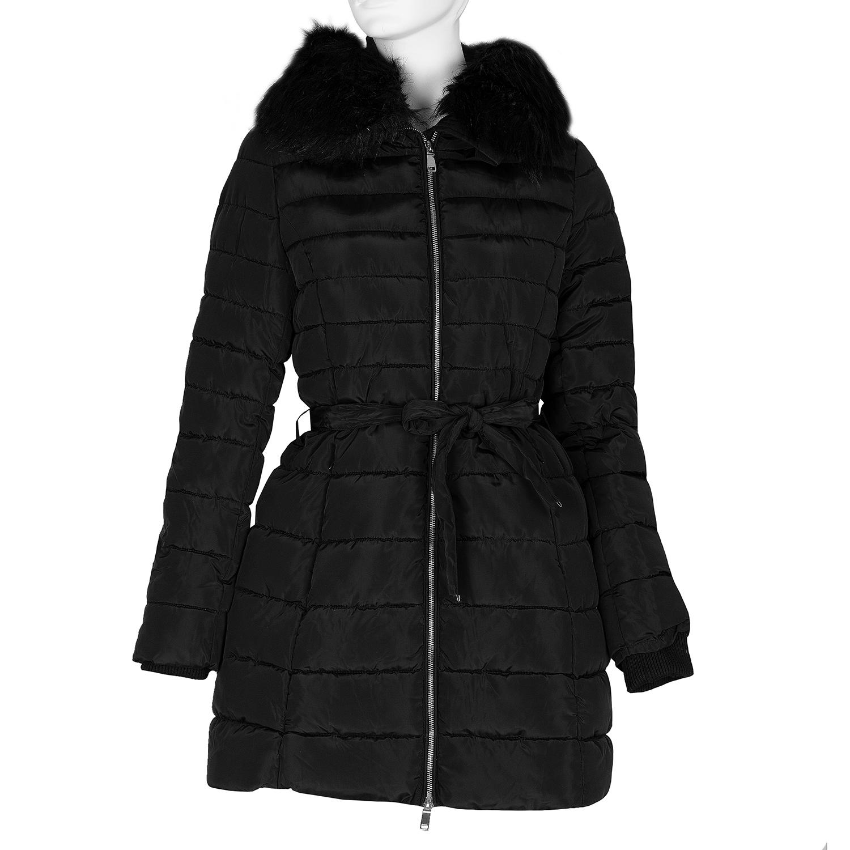 Dlouhá prošívaná bunda s kapucí a kožíškem