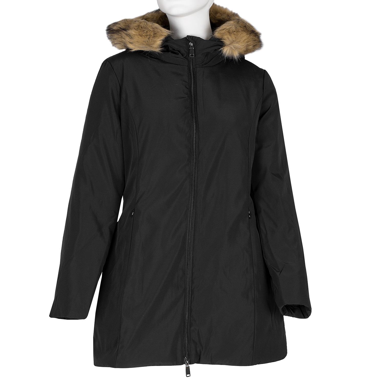 Dlouhá dámská bunda s kapucí a kožíškem