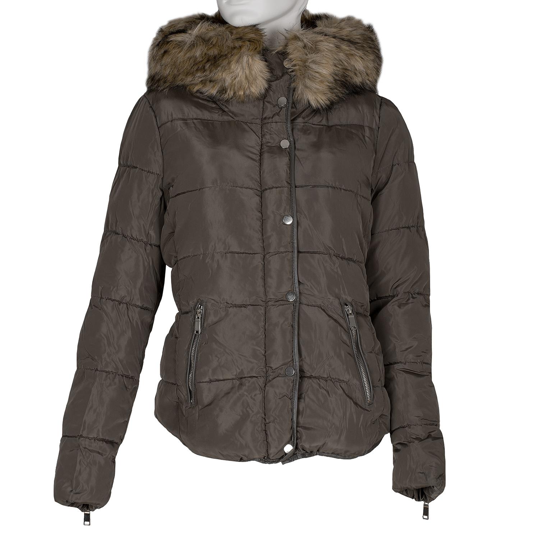 Khaki dámská bunda s kapucí a kožíškem