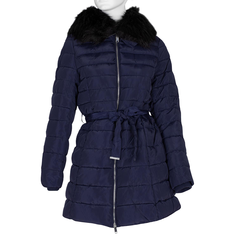Dlouhá dámská prošívaná bunda s kožíškem