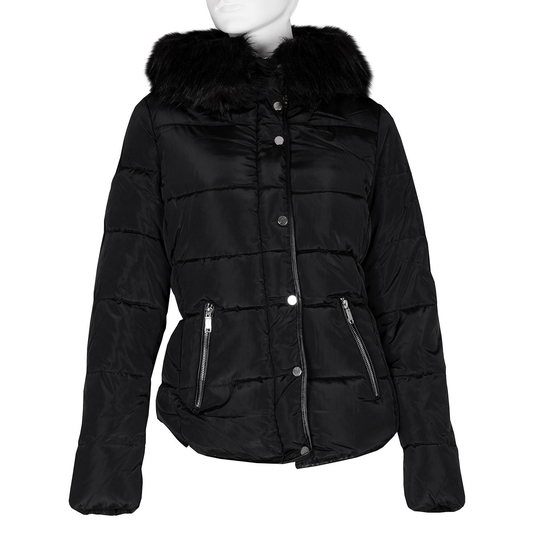 Dámska čierna bunda s kapucňou a kožúškom