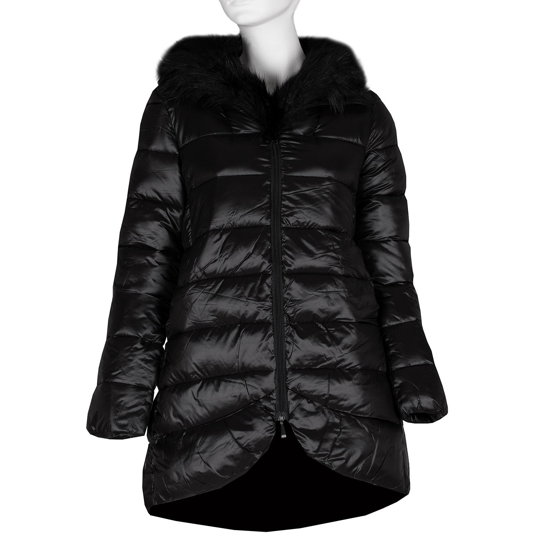 Černá dámská prošívaná bunda s kožíškem