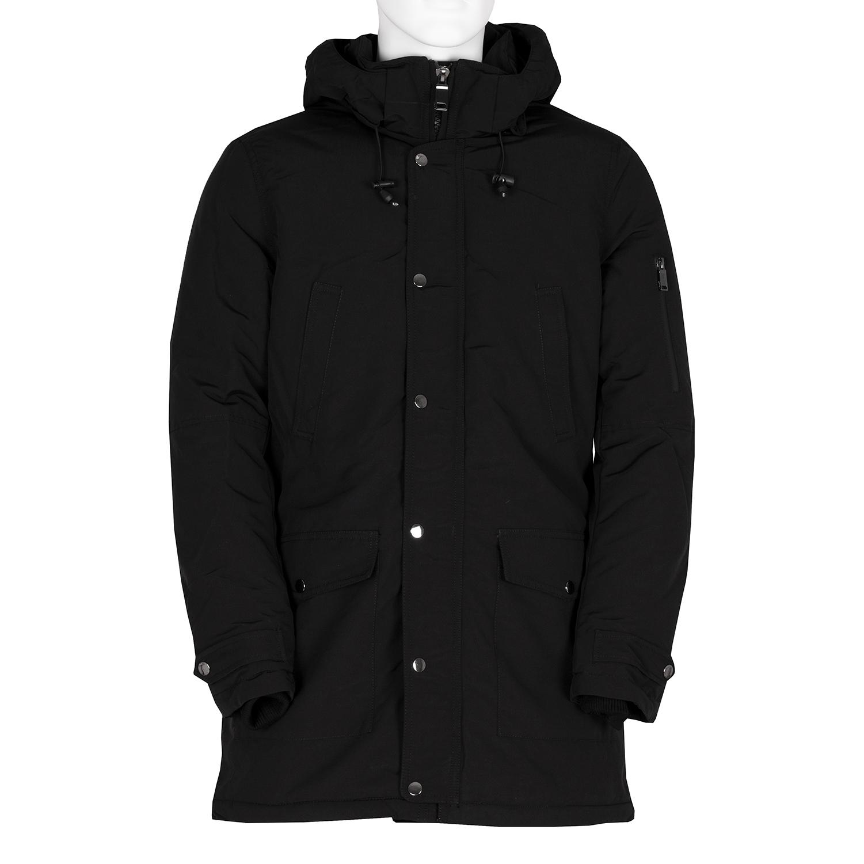 Dlouhá pánská černá bunda s kapucí