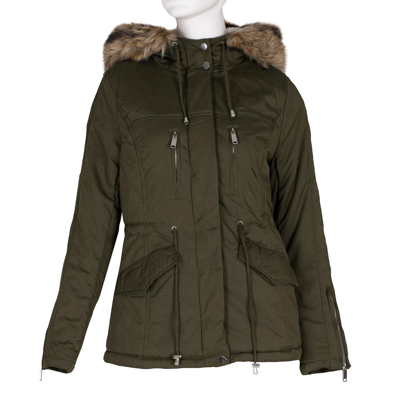 Dámská khaki bunda s kapucí a kožíškem