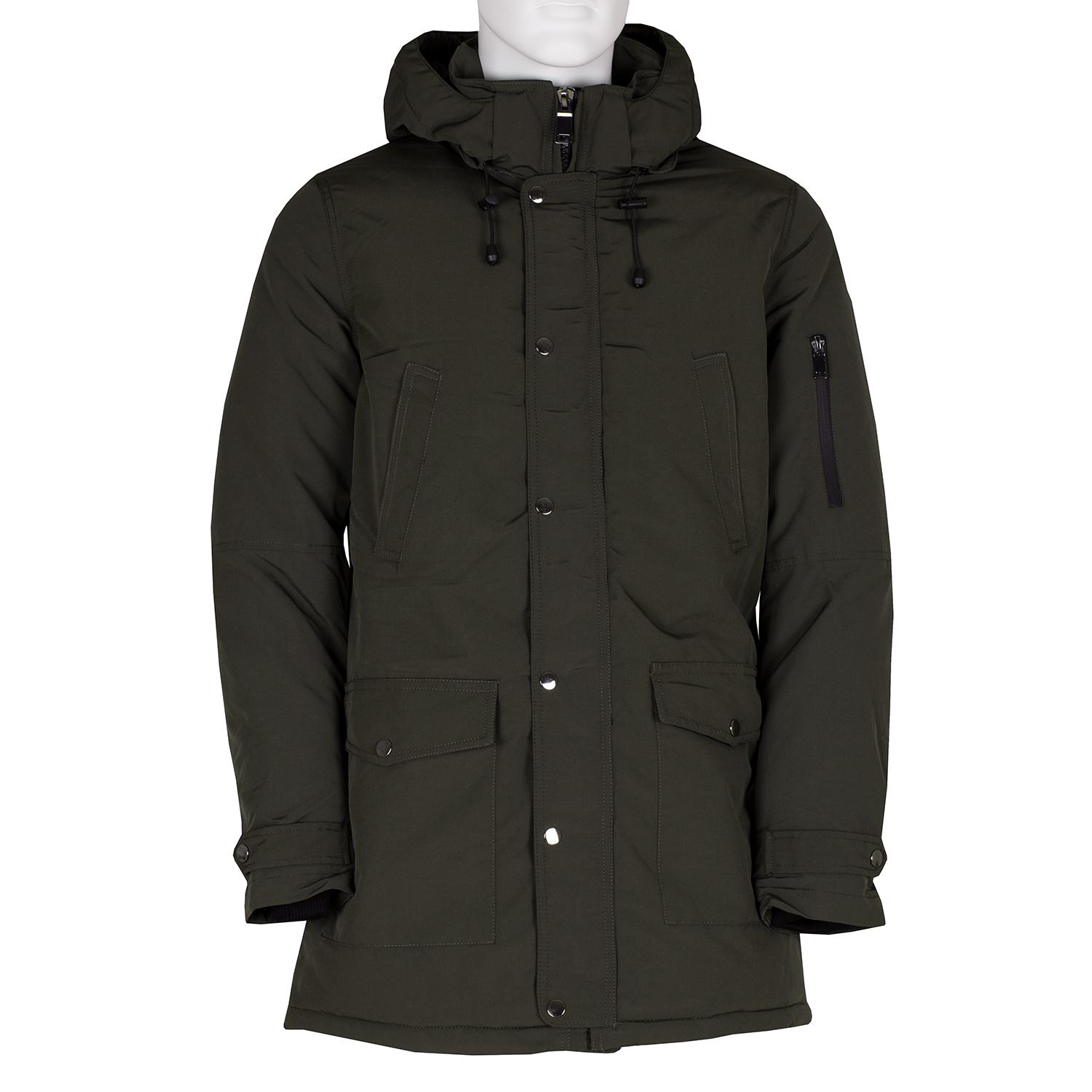 Pánská dlouhá khaki bunda s kapucí