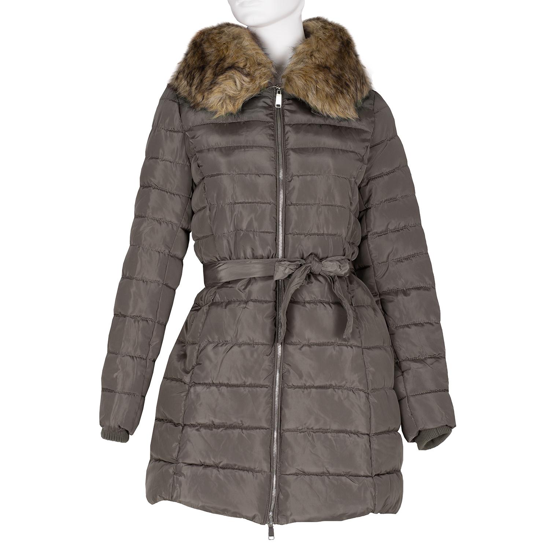 Dámská khaki bunda s prošíváním a kožíškem