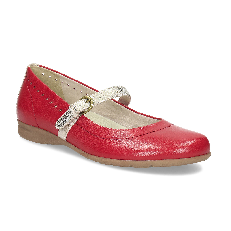 Červené kožené baleríny se zlatými detaily