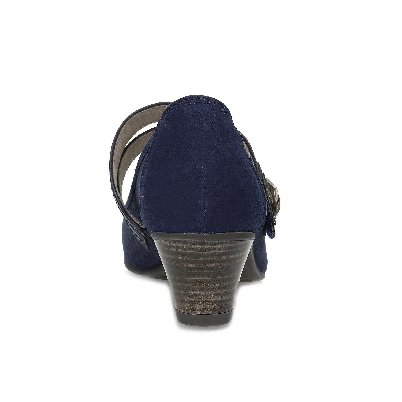 Tmavě modré lodičky z broušené kůže