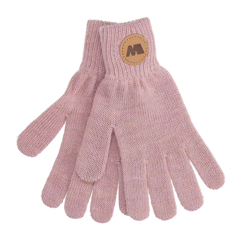 Dámské růžové rukavice s hnědým logem